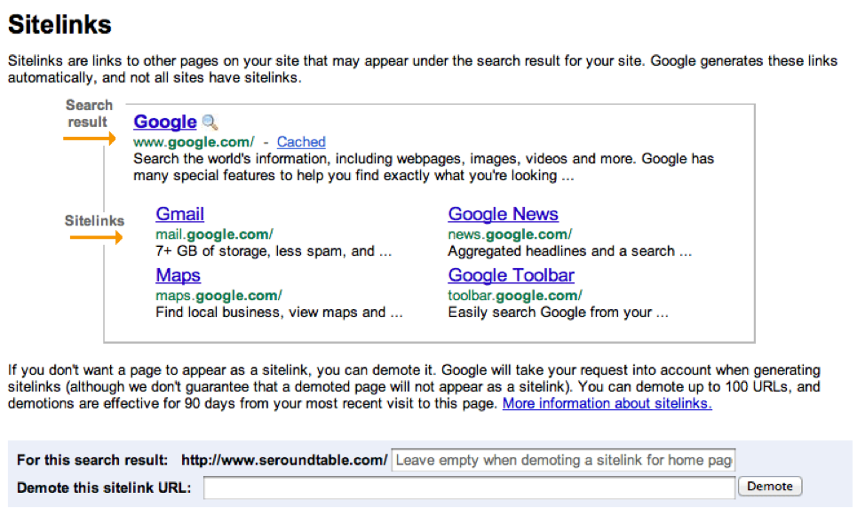 Image of sitelinks in the SERPs